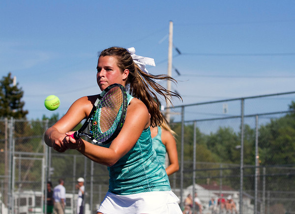 SAM HOUSEHOLDER | THE GOSHEN NEWS<br /> Northridge doubles player Emily Erekson hits the ball Wednesday during the sectional match at Elkhart Central High School.