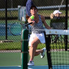 STEPHEN BROOKS   THE GOSHEN NEWS<br /> Northridge's Chase Kieper hits a forehand shot during the No. 2 singles flight of Tuesday's match against Concord. Concord won 3-2.