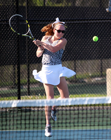 STEPHEN BROOKS | THE GOSHEN NEWS<br /> Northridge's Taylor Sellers hits a return shot in the No. 3 singles flight of Tuesday's match against Concord. Concord won 3-2.