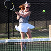 STEPHEN BROOKS   THE GOSHEN NEWS<br /> Northridge's Taylor Sellers hits a return shot in the No. 3 singles flight of Tuesday's match against Concord. Concord won 3-2.