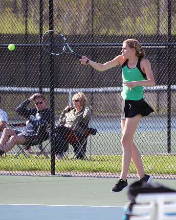 STEPHEN BROOKS | THE GOSHEN NEWS<br /> Concord junior Alana Brubaker hits a forehand shot during the No. 1 singles flight of Tuesday's match at Northridge. Concord won 3-2.