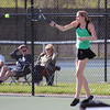 STEPHEN BROOKS   THE GOSHEN NEWS<br /> Concord junior Alana Brubaker hits a forehand shot during the No. 1 singles flight of Tuesday's match at Northridge. Concord won 3-2.