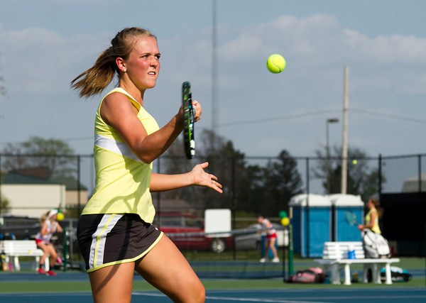 SAM HOUSEHOLDER   THE GOSHEN NEWS<br /> Northridge No. 2 singles player Kylie Frauhiger hits the ball Thursday during the match against Plymouth.