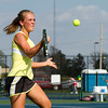 SAM HOUSEHOLDER | THE GOSHEN NEWS<br /> Northridge No. 2 singles player Kylie Frauhiger hits the ball Thursday during the match against Plymouth.