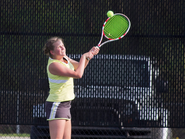 SAM HOUSEHOLDER | THE GOSHEN NEWS<br /> Northridge No. 1 singles player Emily Hughes returns a ball Thursday during the match against Plymouth at Northridge High School.