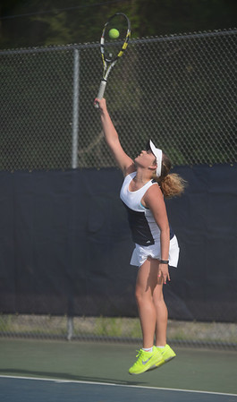 HALEY WARD | THE GOSHEN NEWS<br /> Fairfield No.1 singles player Emily Mast serves in the Regional Championship match against Elkhart Memorial on Wednesday at Elkhart Central High School. Mast lost 6-7, 6-7 in the 2-3 Fairfield loss.