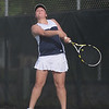 HALEY WARD | THE GOSHEN NEWS<br /> Fairfield No.3 singles player Margie Stutzman hits a forehand during the Regional Championship match against Elkhart Memorial on Wednesday at Elkhart Central High School. Mast won 6-0, 6-1 in the 2-3 Fairfield loss.