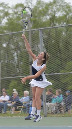 HALEY WARD   THE GOSHEN NEWS<br /> Fairfield senior Margie Stutzman serves against NorthWood during the Sectional Tennis Championship match Friday at Goshen Middle School. Stutzman won her No. 3 singles match 6-0, 6-0.