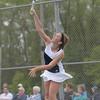 HALEY WARD | THE GOSHEN NEWS<br /> Fairfield senior Margie Stutzman serves against NorthWood during the Sectional Tennis Championship match Friday at Goshen Middle School. Stutzman won her No. 3 singles match 6-0, 6-0.