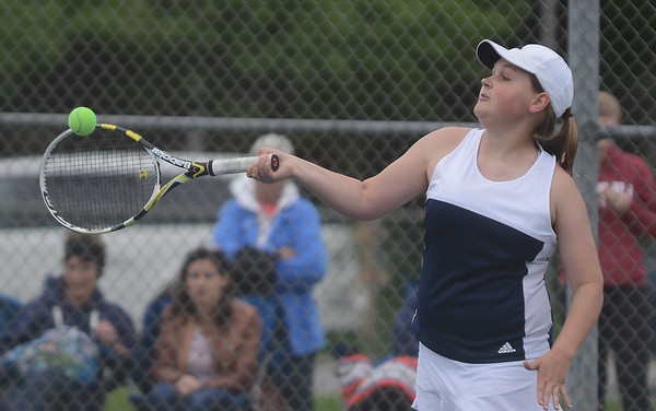 HALEY WARD | THE GOSHEN NEWS<br /> Fairfield sophomore Morgan Mast hits a forehand against NorthWood during the Sectional Tennis Championship match Friday at Goshen Middle School. Mast won her No.2 singles match 6-3, 6-0.