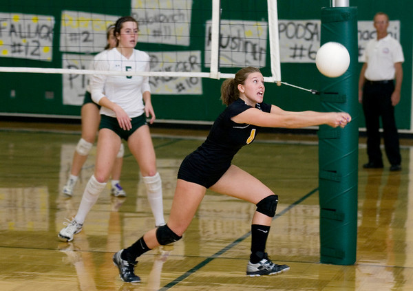 Record-Eagle/Keith King<br /> Traverse City Central's Brittney Bell hustles for the ball against Traverse City West Wednesday, October 6, 2010 at Traverse City West Senior High School.