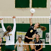 Record-Eagle/Keith King<br /> Traverse City Central's Brie Goodno hits the ball against Traverse City West Wednesday, October 6, 2010 at Traverse City West Senior High School.