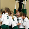 Record-Eagle/Keith King<br /> Traverse City West's Courtney VanHouzen and her teammates celebrate their victory over Traverse City Central Wednesday, October 6, 2010 at Traverse City West Senior High School.