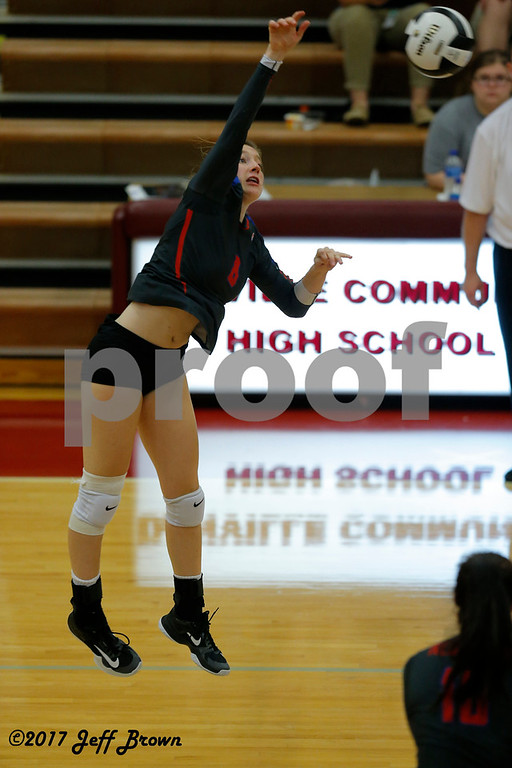 Plainfield High School senior Kate Fisher (8) fires the shot across the net during the volleyball match between Plainfield vs Danville at Danville High School in Danville,IN. (Jeff Brown/Flyer Photo)