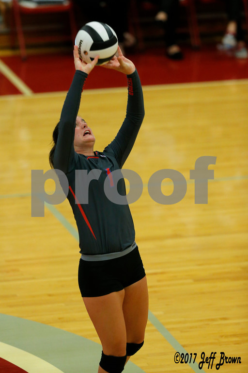 Plainfield High School sophomore Kasey Pierce (1) with the set shot during the volleyball match between Plainfield vs Danville at Danville High School in Danville,IN. (Jeff Brown/Flyer Photo)