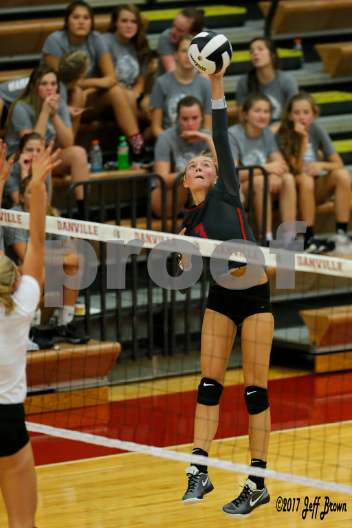 Plainfield High School sophomore Olivia Utterback (3) goes up for the spike during the volleyball match between Plainfield vs Danville at Danville High School in Danville,IN. (Jeff Brown/Flyer Photo)
