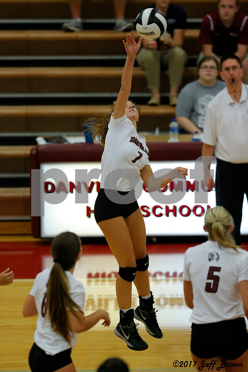 Danville High School sophomore Callie Sharkey (7) goes up for the spike during the volleyball match between Plainfield vs Danville at Danville High School in Danville,IN. (Jeff Brown/Flyer Photo)