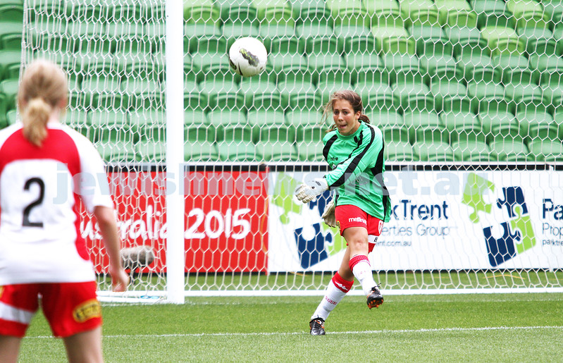 16-3-13. Girls with Heart soccer match. AAMI Park, Melbourne. Goalie Jamie Brown. Photo: Peter Haskin