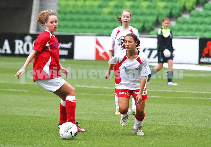 16-3-13. Girls with Heart soccer match. AAMI Park, Melbourne.  Kerryn Jayes (right) . Photo: Peter Haskin