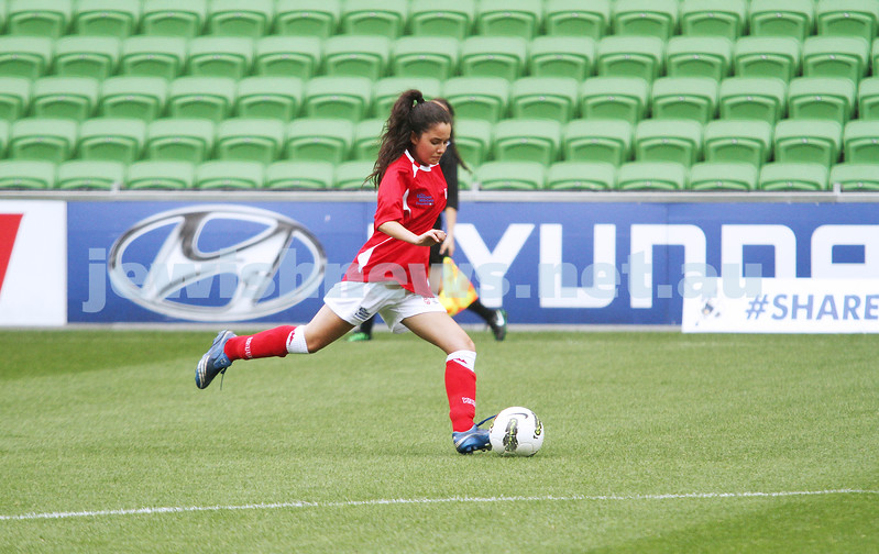 16-3-13. Girls with Heart soccer match. AAMI Park, Melbourne.  Mandy Meyerson. Photo: Peter Haskin