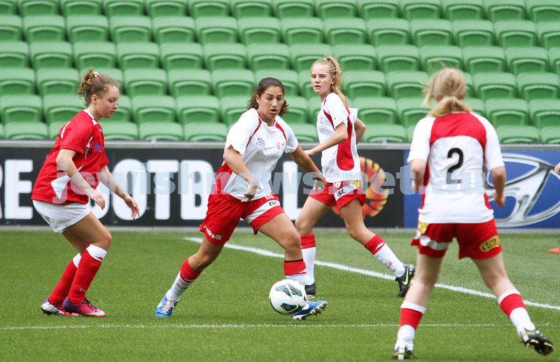 16-3-13. Girls with Heart soccer match. AAMI Park, Melbourne. Amy Silver.  Photo: Peter Haskin
