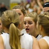 Record-Eagle/Brett A. Sommers <br /> <br /> Glen Lake's Allie Bonzelet gives her teammates a pep talk in the huddle prior to Tuesday's Class C quarterfinal girls basketball game in Gaylord against St. Ignace. Glen Lake won 63-52.