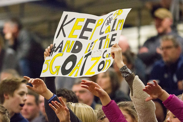 Record-Eagle/Brett A. Sommers <br /> <br /> Glen Lake's student section holds up a sign in support of its team during Tuesday's Class C quarterfinal girls basketball game in Gaylord against St. Ignace. Glen Lake won 63-52.