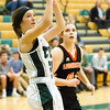 Record-Eagle/Brett A. Sommers Traverse City West's KK Roman attempts a baseline jumper during Monday's girls basketball game against Ludington at TC West High School. TC West won 44-38.