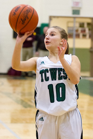 Record-Eagle/Brett A. Sommers Traverse City West's Bree Welch shoots a jump shot during Monday's girls basketball game against Ludington at TC West High School. TC West won 44-38.