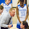 Record-Eagle/Brett A. Sommers Kalkaska head coach Dave Dalton addresses his Blazers during a timeout from Monday's game against Petoskey. Kalkaska won 52-34.
