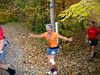 Jeff Crosby flaps his arms in an attempt to fly down the trail.  Alas, he had to stay with the traditional foot movement.