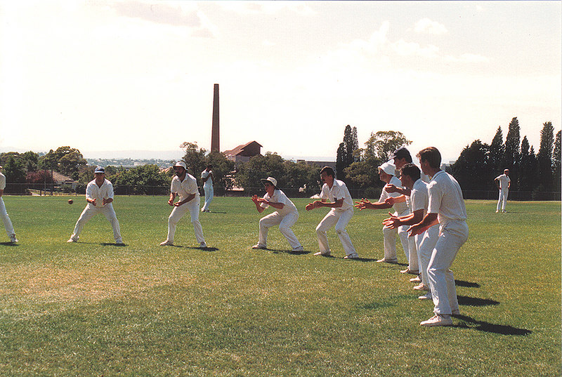 Fielding practice<br /> 1st XI V Ashwood<br /> Semi-Final 1989/90