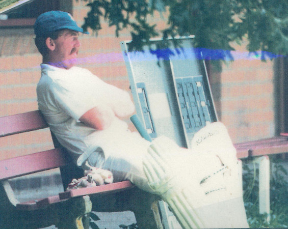Gary Parker waiting to bat <br /> First XI  Grand Final v <br /> B Turf 1992/93