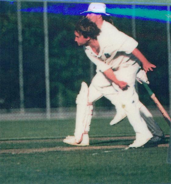 Patrick Doquile bowling<br /> First XI  Grand Final v <br /> B Turf 1992/93