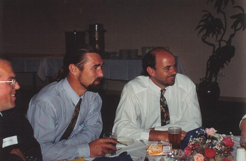 John Foley, Warwick Calkin & Trevor Hamilton<br /> 70th Year Reunion Dinner 1993