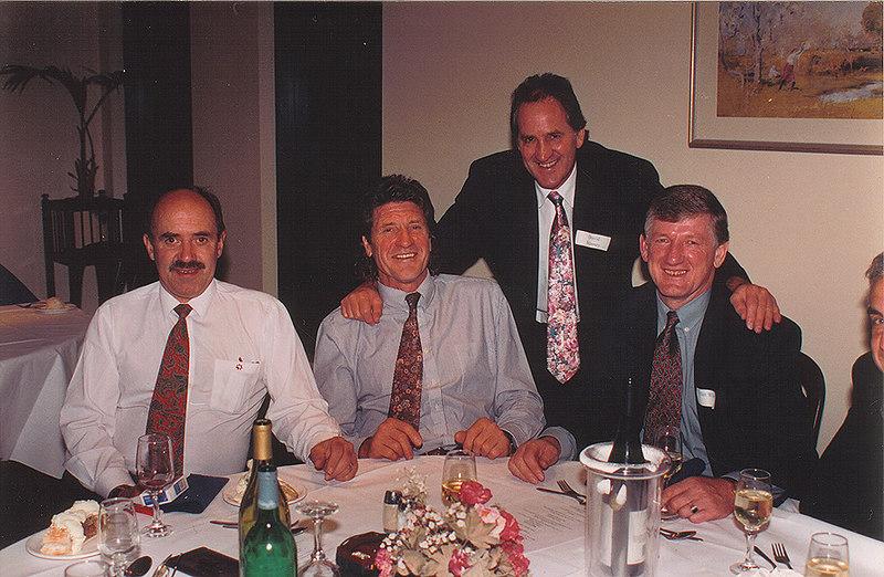 Bill Kennedy, Bernie Massey, David Massey, Alan White & Norm Morris<br /> 70th Year Reunion Dinner 1993