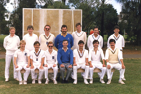 2nd XI Premiership Team<br /> F Turf (E.S.C.A.) 1986/87<br /> Back: Peter Embury (12th man),  Michael Laird,  Chris Hughes,  Roger Young (Coach), David Turnbull,  David Massey,  Simon Loorham<br /> Front: Ian Wrigglesworth,  Neil Campbell,  Phil O'Rourke (V.Capt),  Ron O'Malley (Pres), Ian Lee (Capt), Bernard O'Rourke,  Ron Hannon