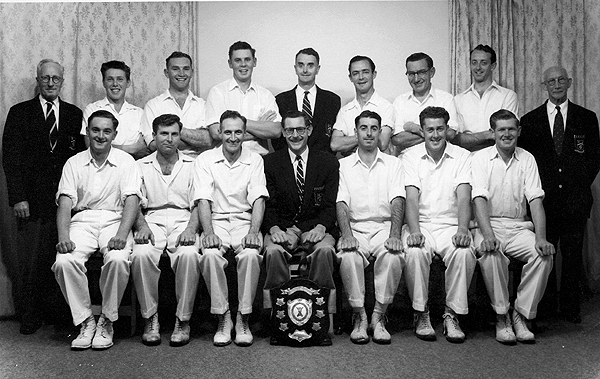 1st XI Premiership Team<br /> A Turf (E.S.C.A) 1957/58<br /> Back: Alex Pinkerton,  David Thompson (12th man),  Wally Nicolson,  Ross Manniche, Doug Watters,  Alby Thomas,  Geoff Knight,  Neil Watters,  Arthur Nancarrow<br /> Front: Ken Clarke,  Cec Storer,  Grant Sprague (Capt),  Neville Lee (Pres),  Graeme Watters, Ray Jones,  Ray Cleary