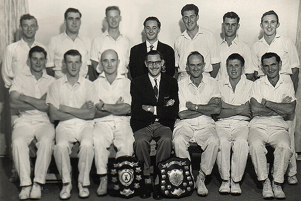 2nd XI Premiership Team <br /> C Turf (E.S.C.A) 1959/60 <br /> Back: Tony Ellis,   Arthur Goudy,   Ian Lovegrove,   Ken Clarke (Sec), <br /> Ray Jones,   Kevin Box,   Les Stubbs<br /> Front: Peter Allsop,   Ric Ford,   Doug Curtin (Capt),   Neville Lee (Pres),  <br />  Gordon Grindrod (V.Capt),   David Thompson,   Alan Thomas