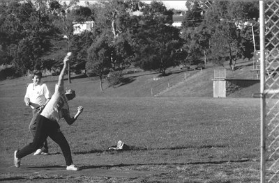 Brian Pepper in the background Training in th 80's