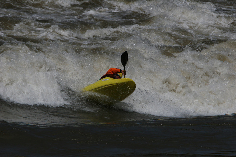 Kayaking the standing wave in Colorado River