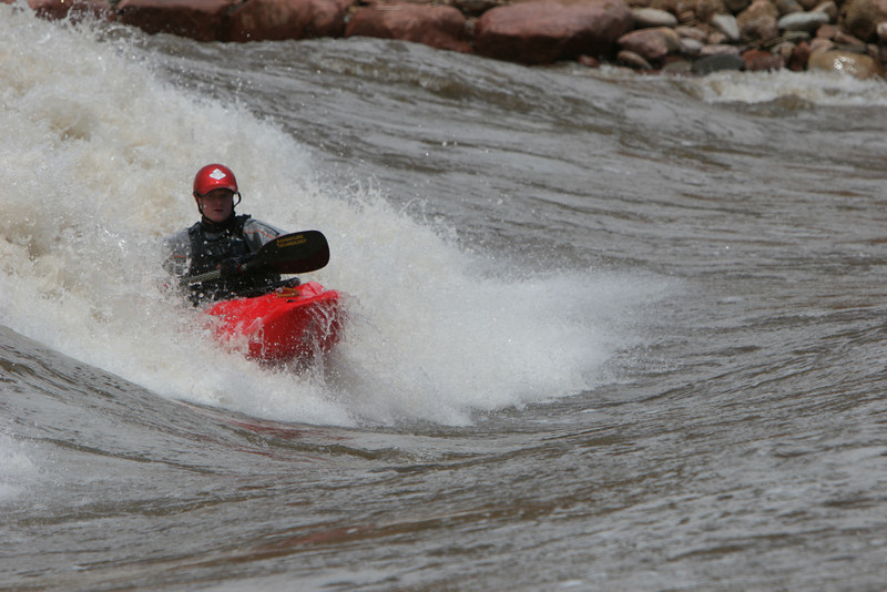 Drew Hunter Colorado River Standing Wave.<br /> Mr Hunter Died in a kayak related accident in June 2009.  He was playing on a standing wave in the Glenwood Springs Colorado during the record runoff of 2009.