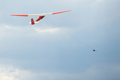 Training Glider taking off on a winch launch