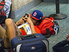Setting his alarm for flight departure !!