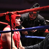 Night 2 of 2017l Golden Gloves. Raphael Ocasio of Upperkuts (Red) with Tim Ramos, center, and trainer A.J. Thomas, right, between rounds in 165 lb Novice bout. James Marino of Medford and Somerville Boxing Club won by a 4-1 decision. (SUN/Julia Malakie)