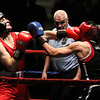 Night 2 of 2017l Golden Gloves. Michael Rivera of The Ring (Blue), right, won by unanimous decision over Donovan Ramsey of Grealish Boxing, left, in 152  lb Novice bout. Referee is Jackie Morrill. (SUN/Julia Malakie)
