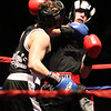 Night 2 of 2017l Golden Gloves. Jared Laganas of Hudson, NH, originally of Dracut, from SLS Boxing (Red), right, won by unanimous decision over Furcy Ferrera of Peabody and Private Jewels (Blue), in 165 lb Novice bout. (SUN/Julia Malakie)
