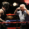 Night 2 of 2017l Golden Gloves. James Marino of Medford and Somerville Boxing Club (Blue), with referee Jackie Morrill. Marino won by a 4-1 decision over Raphael Ocasio of Upperkuts (Red) in 165 lb Novice bout. (SUN/Julia Malakie)