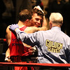 Central/ Lowell Golden Gloves boxing. Preliminary bouts, Novice. Gabriel Morales of Dracut & Intenze 978 (Red corner), left, won by unanimous decision over Gabriel Gerolomo of Lowell & Canal Street, in 141 lb Novice bout. Referee is Mike Ryan. (SUN/Julia Malakie)