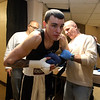 Central/ Lowell Golden Gloves boxing. Preliminary bouts, Novice. Patrick Murphy of Lowell & Canal Street getting ready before his bout, with Dave Ramalho helping put on his gloves. He won by unanimous decision over Gregory Bono of Watertown & Nolan Bros. Boxing, in 152 lb Novice bout. (SUN/Julia Malakie)